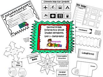 Second Grade Social Studies Interactive Notebook-Geog., Hi