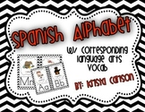 Spanish Alphabet Cards with Language Arts Vocabulary