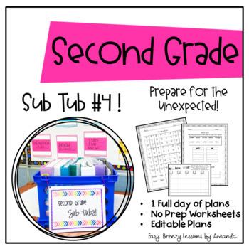 Second Grade Sub Tub #4 (No Prep Substitute Plans)