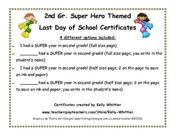 Second Grade - Super End of School Year Super Hero Certificates