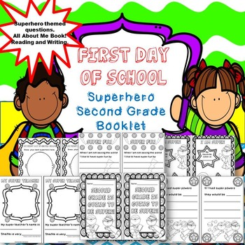 Second Grade Superhero All About Me Booklet { First Day of