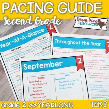 Second Grade TEKS Year Planner- Back to School-Texas 2nd C