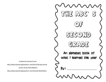 Second Grade- The ABC's of What I Learned This Year- end o