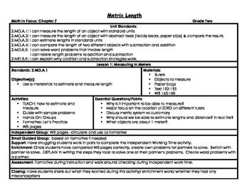 Second Grade Metric Length Math in Focus Lesson Plans