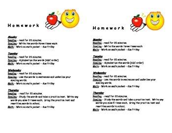 Second Grade Weekly Homework Handout