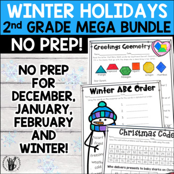 Second Grade Winter and Holidays Literacy and Math No Prep Bundle