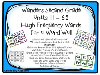 Second Grade Wonders High Frequency Word Wall Words