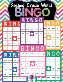 Second Grade Word Bingo