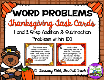 Second Grade Word Problems:  Thanksgiving Set