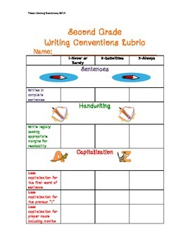 Second Grade Writing Conventions Rubric***Standards Based