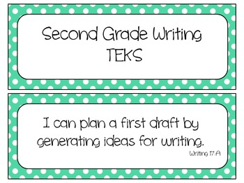 Second Grade Writing TEKS~ Teal Polka Dot