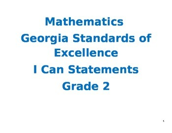 Second Grade Mathematics Georgia Standards of Excellence I