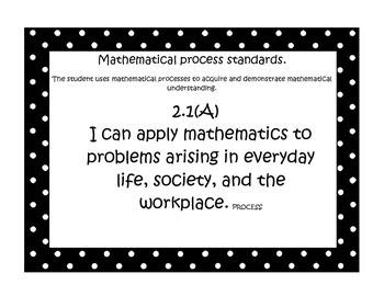 Second grade Math TEKS-Polkadot Border