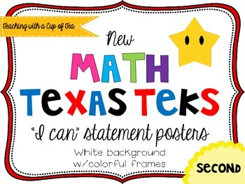 Second grade *New* Math TEKS Posters {white background w/c