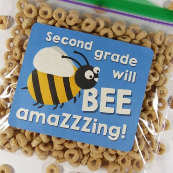 """""""Second grade will be amazing!"""" - Goodie bag labels for ba"""