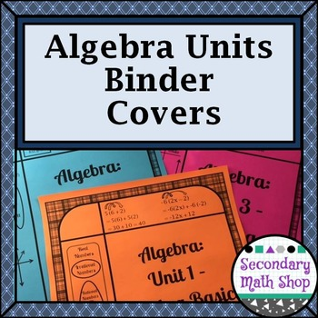 Secondary Algebra Binder Covers (Editable!!!  11 Units!!!)