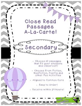Secondary Close Read A-La-Carte Choose Your Own Close Read