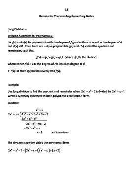 Common Core Secondary Math 3 Unit 2 Remainder Th., Long Di