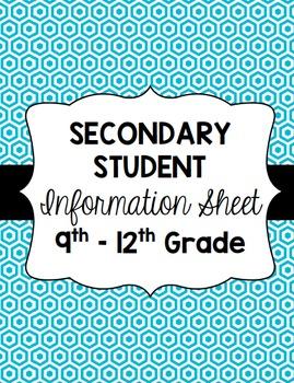 Secondary Student Information Sheet [freebie]