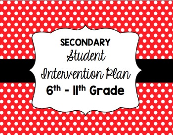 Secondary Student Intervention Plan [editable]