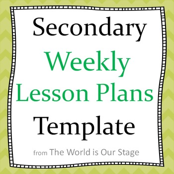 Secondary Weekly Lesson Plans Planning Template