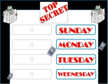 Secret Agent Weekday Chart! Secret Agent Theme! Mystery De