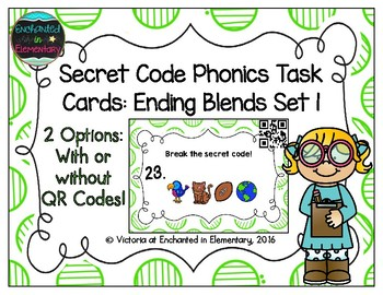Secret Code Phonics Task Cards: Ending Blends Set 1