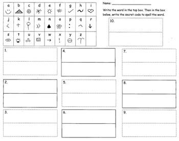 Secret Code spelling - word work/spelling