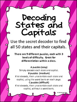 Secret Decoder - States and Capitals