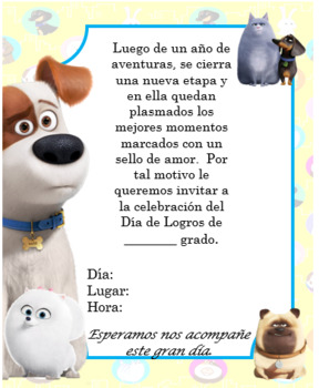 Secret Life of Pets Invitation Editable!!!