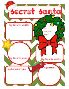 Secret Santa Questionaire FREE