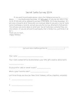 Secret Santa Survey for the staff at your school