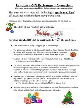 Gently Used Item - Secret Gift Exchange Student & Parent Letter