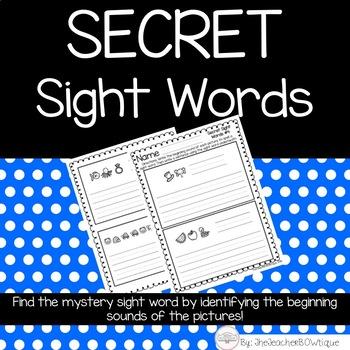 Secret Sight Words Set 1