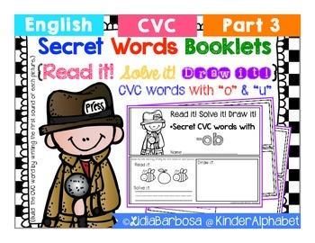 """Secret Words Booklets { CVC with """"o"""" and """"u"""" }"""
