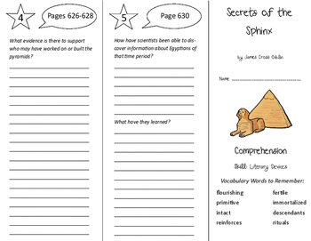 Secrets of the Sphinx Trifold - Storytown 6th Grade Unit 5 Week 4