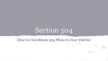 Section 504 Primer for School Counselors and Administrators