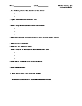 Sectionalism Reading Quiz, Amsco Chapter 9