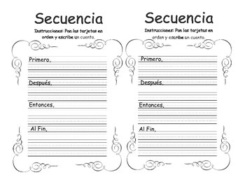 Secuencia- Sequence of events SPANISH Graphic organizer (2