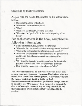 Seedfolks Journal and Essay Assessment