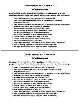 Seedfolks Reflection Questions