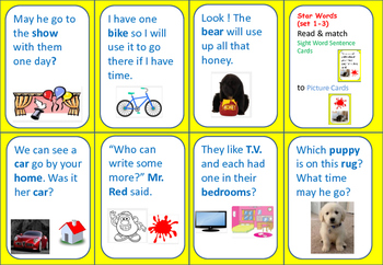 Seeing Stars STAR WORDS (sets 1-3) MATCHING GAME-Sentence Format