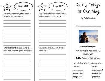 Seeing Things His Own Way Trifold - Wonders 6th Grade Unit