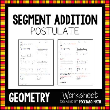 Segment Addition Postulate GEOMETRY Worksheet FREE SAMPLE