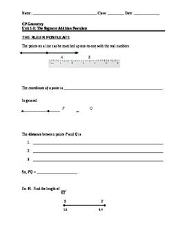 Segment Addition Postulate (notes)