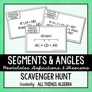 Segments and Angles (Properties, Definitions, Postulates)