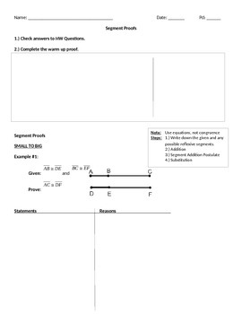 Segment Proofs Worksheet