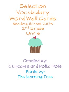 Selection Vocabulary Words- Word Wall Cards  Reading Stree