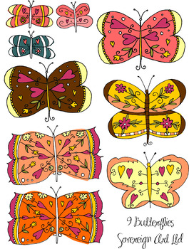 Selection of Cartoon Illustrated Butterflies