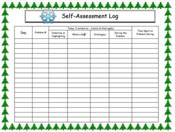 Self Assessment Log for Problem Solving Winter Theme
